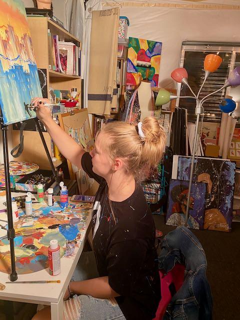 Phia Painting Self Portrait