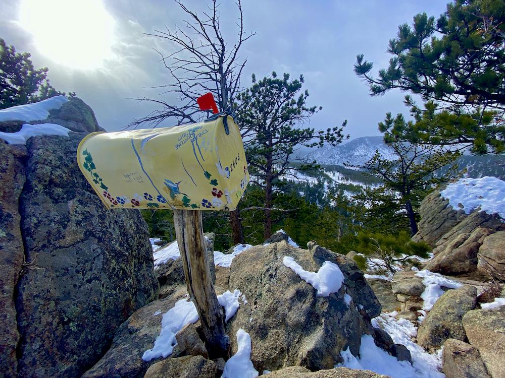 Original Mailbox above Rocky Mountain National Park